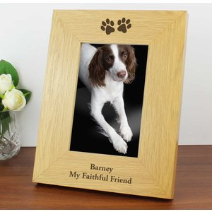 Oak Finish 4x6 Paw Prints Photo Frame For You Personalised Gifts P011160