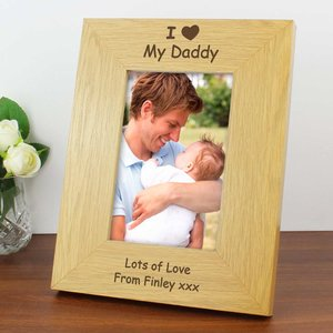 Oak Finish 6x4 I Heart Photo Frame For You Personalised Gifts P0111a09
