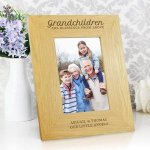 Oak Finish 'grandchildren Are A Blessing' 4x6 Photo Frame For You Personalised Gifts P0111b56