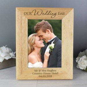 Our Wedding Day' Wooden 5x7 Photo Frame For You Personalised Gifts P0111b45