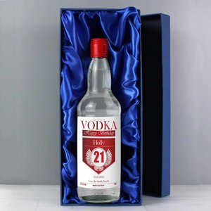Personalised Birthday Red & Silver Vodka With Gift Box For You Personalised Gifts P0512l12box