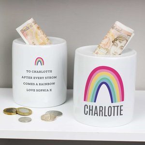Personalised Rainbow Ceramic Money Box For You Personalised Gifts P0805k57