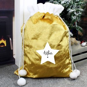 Personalised Star Luxury Pom Pom Gold Sack For You Personalised Gifts P0510i60