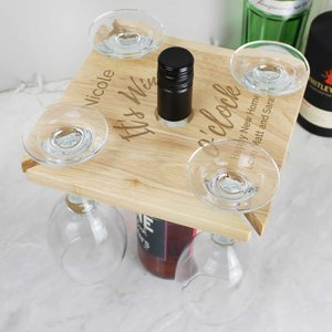 Personalised Wine O'clock Four Wine Glass Holder & Bottle Butler For You Personalised Gifts P0111c94