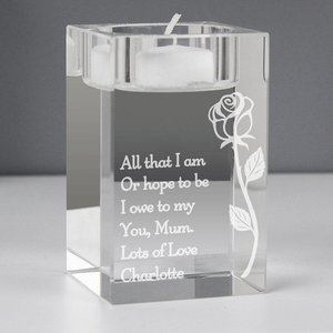Rose Glass Tea Light Holder For You Personalised Gifts P0107e90
