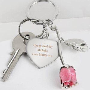 Silver Plated Pink Rose Keyring For You Personalised Gifts P0104k94