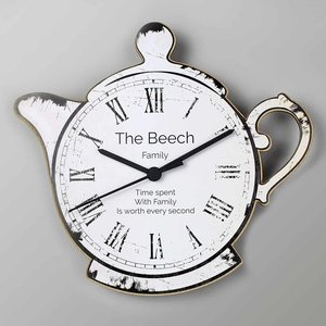 Teapot Shape Wooden Clock For You Personalised Gifts P071167
