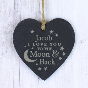 To The Moon And Back... Slate Heart For You Personalised Gifts P010563