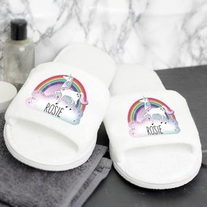 Unicorn Velour Slippers For You Personalised Gifts P0710h42