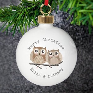 Woodland Owl Bauble For You Personalised Gifts P0305g23