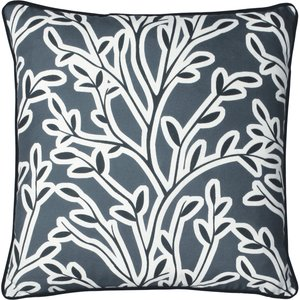 Furn. Annika Floral Cushion Slate Blue Annika/cc3/sbl Living Room, Slate Blue