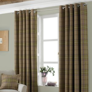 Paoletti Aviemore Tartan Faux Wool Eyelet Curtains Thistle Aviemor/rt8/thi Curtains & Blinds, Thistle