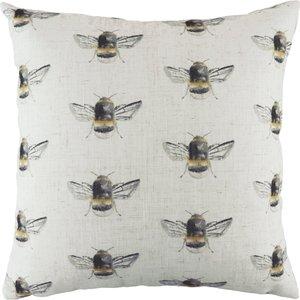 Evans Lichfield Bee Happy Repeat Printed Cushion White Bbhapre/cc2/whi Living Room, White
