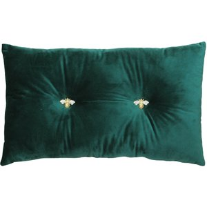 Paoletti Bumble Bee Velvet Cushion Emerald Bumble/rf/eme Living Room, Emerald
