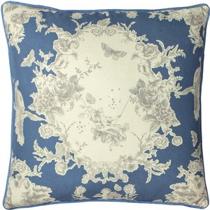Paoletti Burford Floral Cushion Slate Blue Burford/cc3/sbl Living Room, Slate Blue