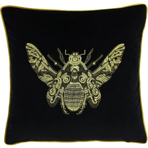 Paoletti Cerana Bee Velvet Cushion Black Cerana/cc3/blk Living Room, Black