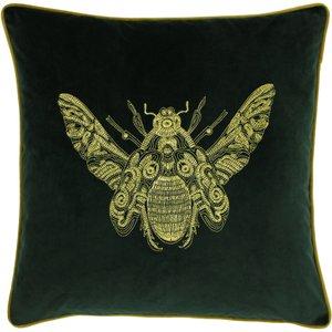 Paoletti Cerana Bee Velvet Cushion Emerald Cerana/cc3/eme Living Room, Emerald