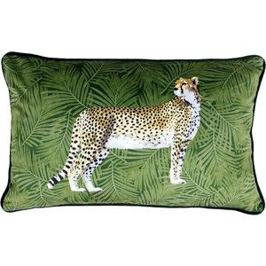 Paoletti Cheetah Forest Velvet Cushion Green Cheefor/3cc/gre Living Room, Green