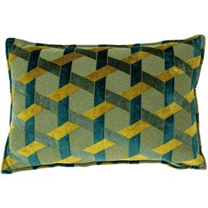 Paoletti Delano Velvet Jacquard Cushion Teal/gold Delano/2cc/tegl Living Room, Teal/Gold