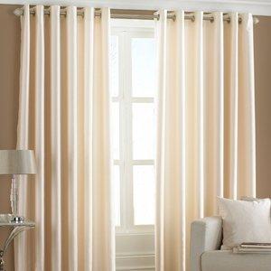 Essentials Fiji Faux Silk Eyelet Curtains Cream Fijisil/rt8/cre Curtains & Blinds, Cream