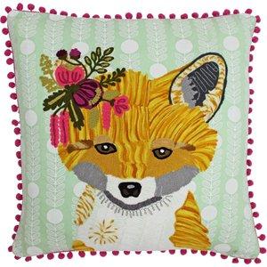Paoletti Funky Fox Embroidered Cushion Multicolour Funkyfo/cc2/mul Living Room, Multicolour