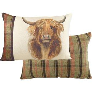 Evans Lichfield Hunter Highland Cow Rectangular Cushion Multicolour Hhighco/2cc/muh Living Room, Multicolour