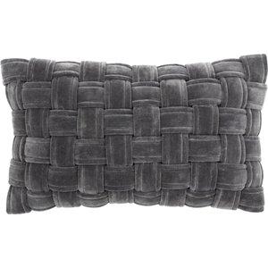 Paoletti Kross Velvet Cushion Charcoal Kross/3cc/cha Living Room, Charcoal