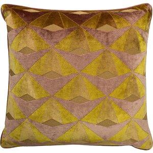 Paoletti Leveque Velvet Jacquard Cushion Ochre/blush Levequ/cc3/ocbs Living Room, Ochre/Blush