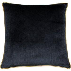 Paoletti Meridian Velvet Cushion Black/gold Meridi/cc8/blgo Living Room, Black/Gold