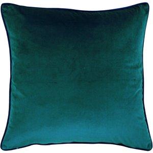 Paoletti Meridian Velvet Cushion Teal/navy Meridi/cc8/teny Living Room, Teal/Navy