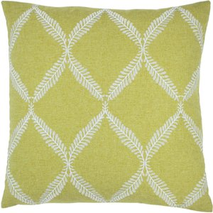 Paoletti Olivia Lattice Embroidered Cushion Citron Olivia/cc2/cit Living Room, Citron