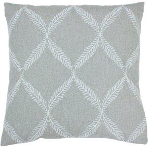 Paoletti Olivia Lattice Embroidered Cushion Grey Olivia/cc2/gry Living Room, Grey