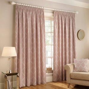 Paoletti Olivia Lattice Embroidered Pencil Pleat Curtains Blush Olivia/c03/bls Curtains & Blinds, Blush