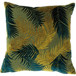 Paoletti Palm Grove Velvet Jacquard Cushion Gold/teal Palmgr/cc3/glte Living Room, Gold/Teal