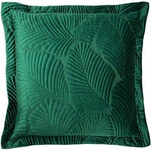 Paoletti Palmeria Quilted Velvet Cushion Emerald Palmeri/cc8/eme Living Room, Emerald
