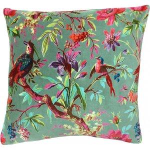Paoletti Paradise Velvet Cushion Mineral Paradis/cc3/min Living Room, Mineral