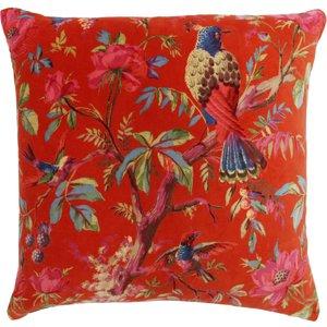 Paoletti Paradise Velvet Cushion Orange Paradis/cc3/org Living Room, Orange