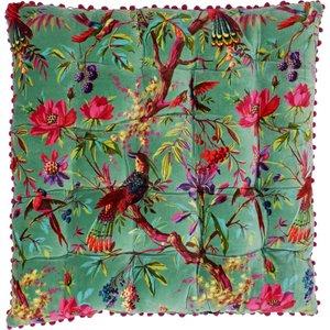 Paoletti Paradise Velvet Floor Cushion Aqua Paradise/fc/aqa Living Room, Aqua