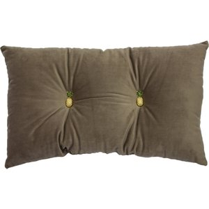 Paoletti Pineapple Velvet Cushion Grey Pineappl/rf/gry Living Room, Grey