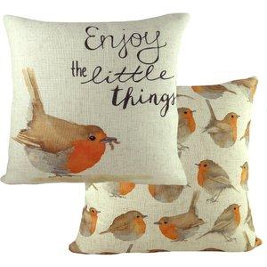 Evans Lichfield Robin Printed Cushion Multicolour Robin/cc5/mul Living Room, Multicolour