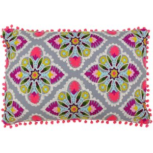 Paoletti Rosa Tile Vintage Embroidered Cushion Multicoloured/grey Rosatil/2cc/gry Living Room, Multicoloured/Grey