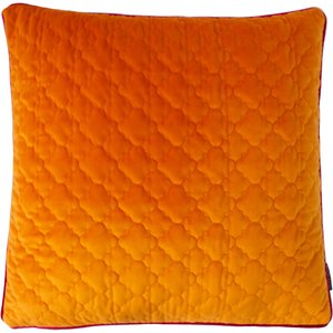 Paoletti Royale Quilted Velvet Cushion Clementine/hot Pink 770roy/cc3/clhp Living Room, Clementine/Hot Pink