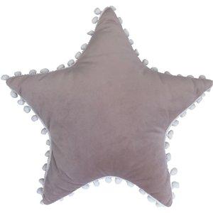 Little Furn. Star Pom Pom Kids Cushion Blush/white 770spom/rf/bswh Living Room, Blush/White