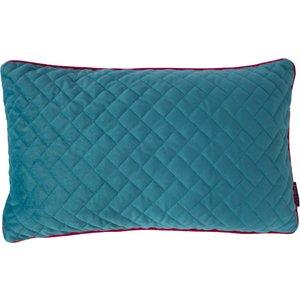 Paoletti Tetris Rectangular Quilted Cushion Ocean/hot Pink 770tet/3cc/ochp Living Room, Ocean/Hot Pink