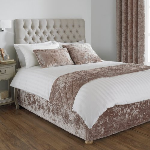 Paoletti Verona Crushed Velvet Bed Runner Oyster Verona/r2/oys Beds, Oyster