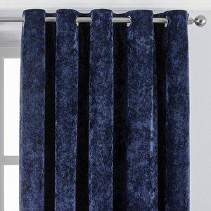 Paoletti Verona Crushed Velvet Eyelet Curtains Navy Verona/rt8/nvy Curtains & Blinds, Navy