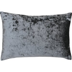 Paoletti Verona Crushed Velvet Rectangular Cushion Pewter Verona/2cc/pet Living Room, Pewter