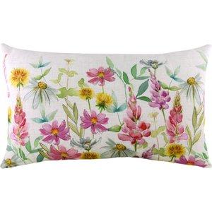 Evans Lichfield Wild Flowers Ava Rectangular Cushion Multicolour Wflowav/3cc/mul Living Room, Multicolour