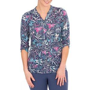 Anna Rose Floral Print Blouse - Navy/multi - Xxl Navy Multi Qm6j2s1645106 Womens Tops, NAVY MULTI