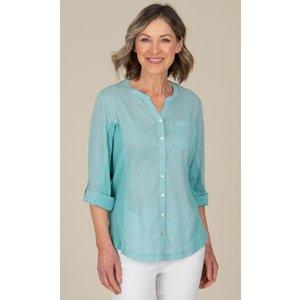 Anna Rose Spot Print Cotton Blouse - Aqua - 14 Qq8x2s1094014 Womens Tops, AQUA